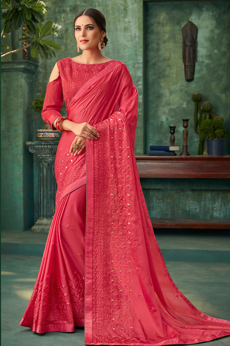 Embroidered Georgette Fabric Red Designer Saree With Mesmerizing Blouse