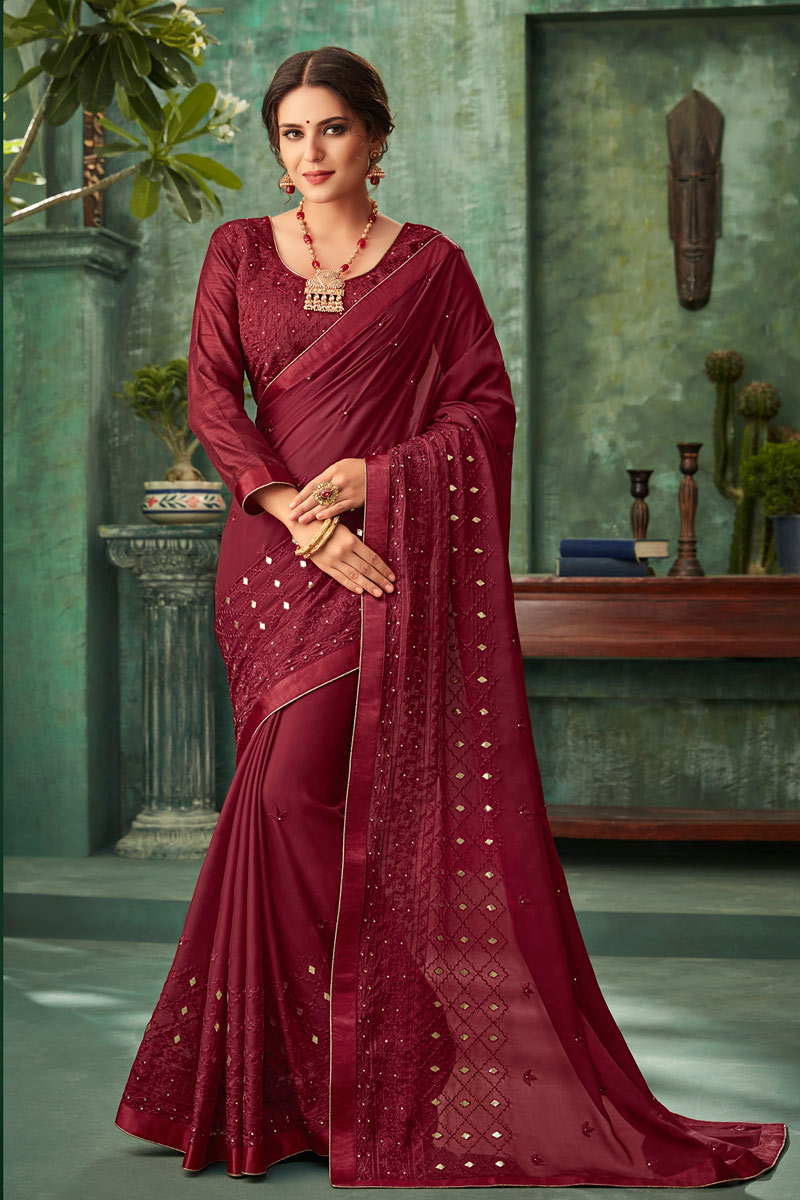 Maroon Georgette Fabric Party Wear Saree With Embroidery Work And Beautiful Blouse