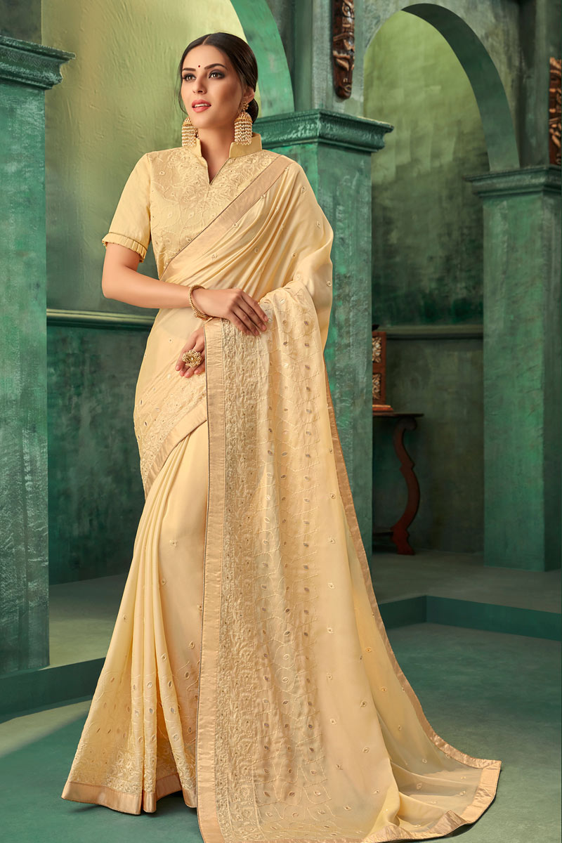 Georgette Fabric Embroidery Designs On Beige Occasion Wear Saree With Gorgeous Blouse