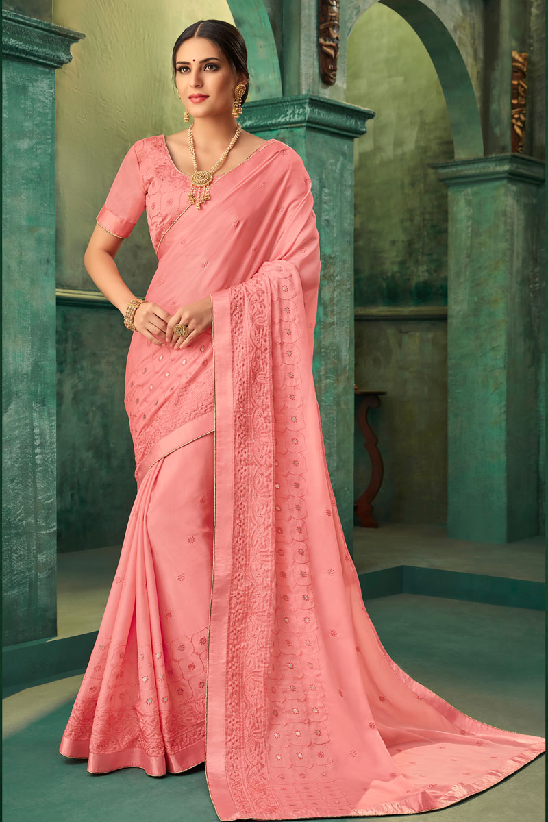 Embroidery Work On Georgette Fabric Pink Function Wear Saree With Enigmatic Blouse