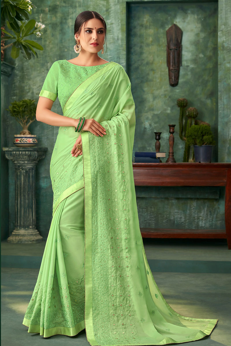 Embroidered Work On Green Georgette Fabric Designer Saree With Captivating Blouse