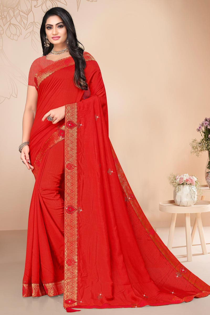 Art Silk Alluring Regular Wear Red Color Plain Saree With Lace Work