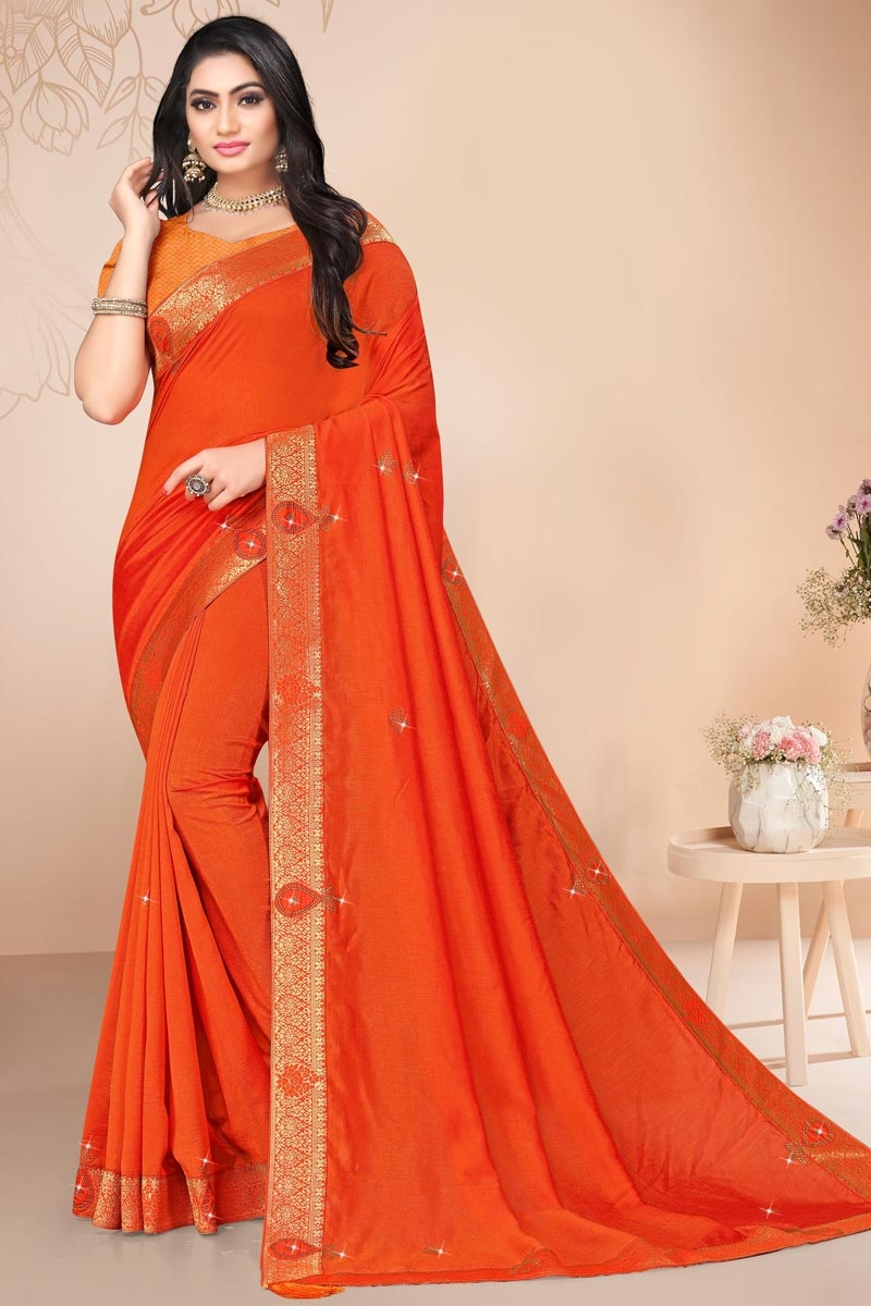 Orange Color Regular Wear Art Silk Alluring Plain Saree With Lace Work