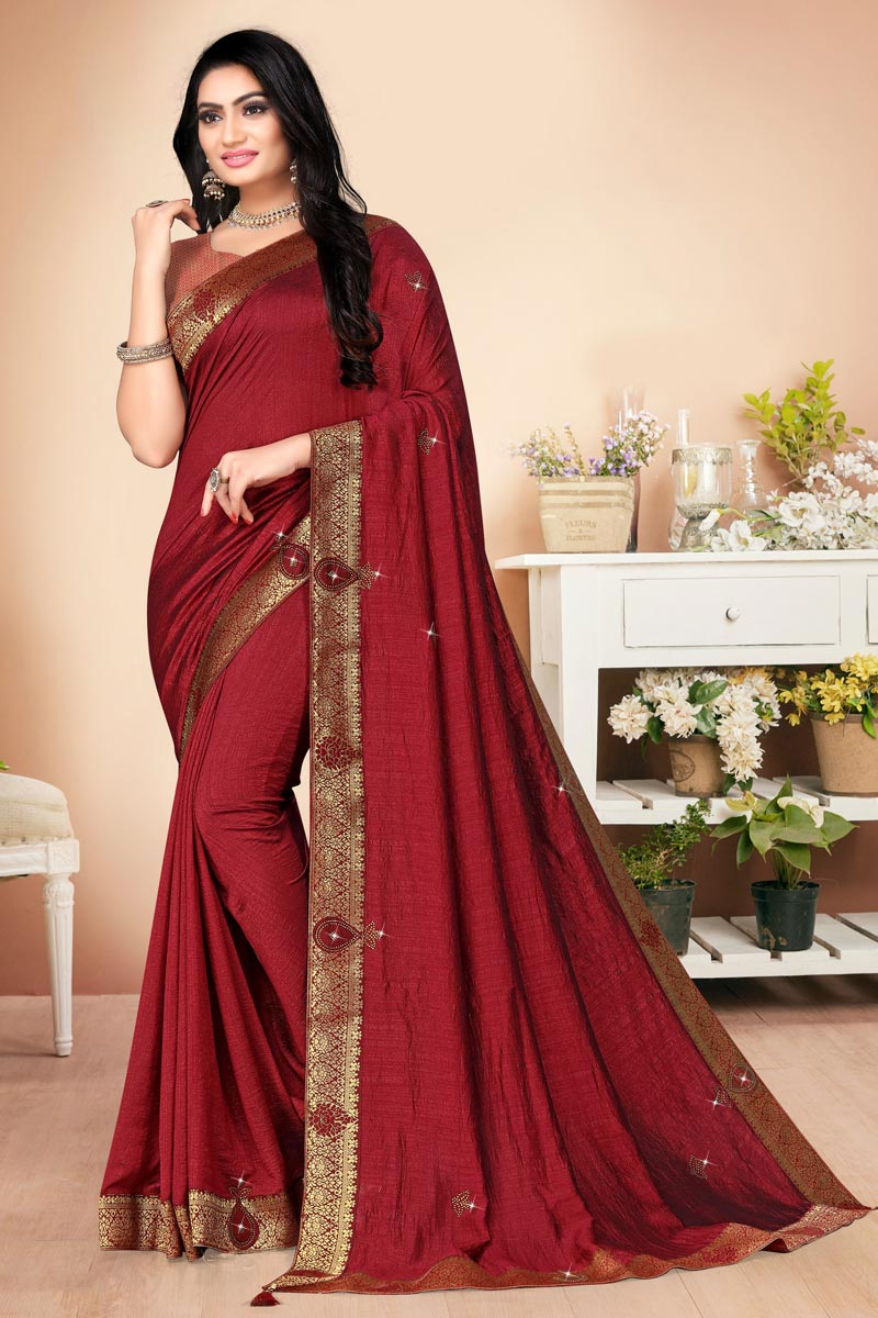 Regular Wear Maroon Color Alluring Plain Saree With Lace Work In Art Silk