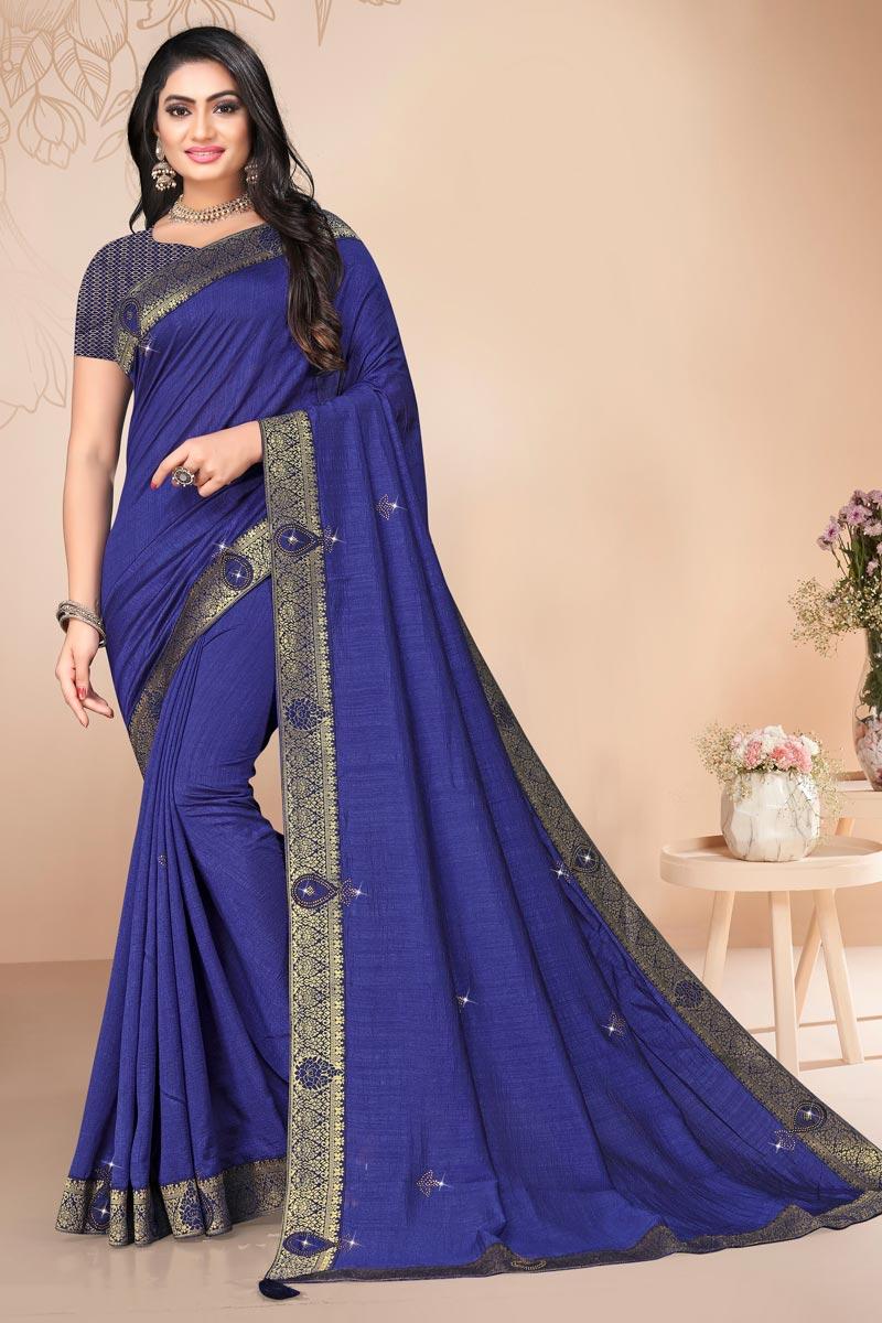 Blue Color Alluring Regular Wear Art Silk Plain Saree With Lace Work