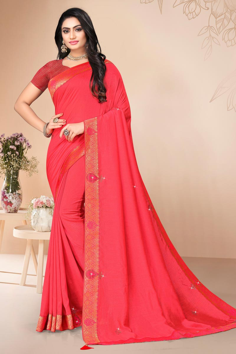 Regular Wear Alluring Art Silk Plain Saree With Lace Work In Pink Color