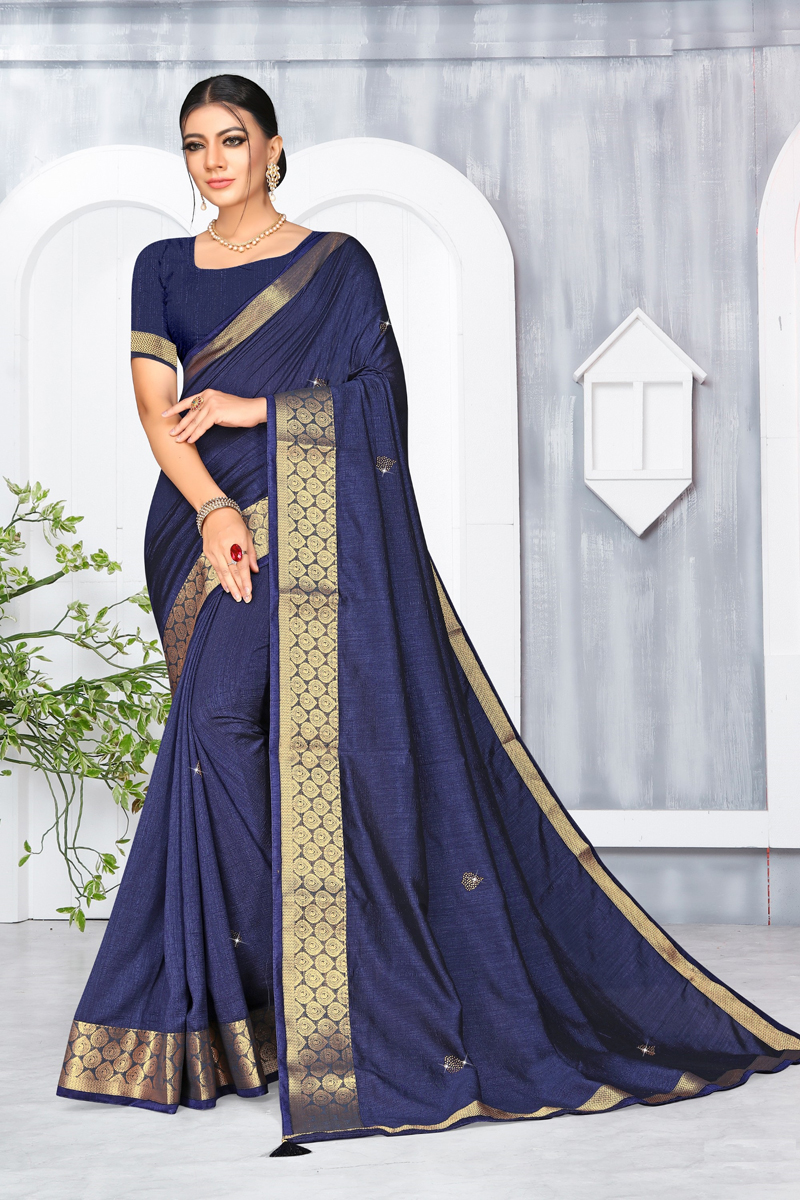 Navy Blue Color Traditional Weaving Border Work Saree In Art Silk Fabric