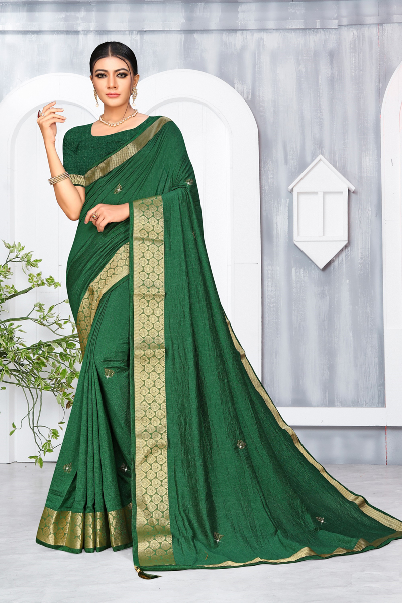 Art Silk Fabric Designer Party Wear Weaving Border Work Saree In Dark Green Color