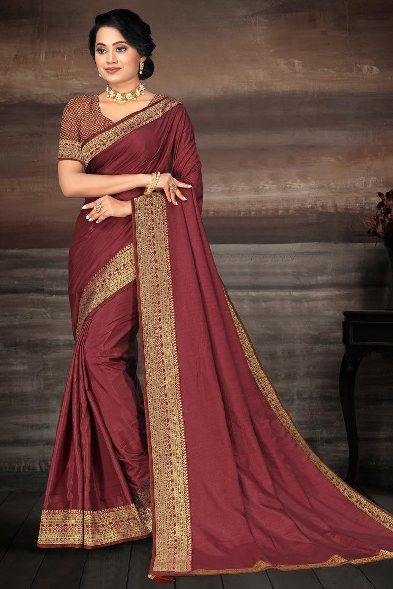 Reception Wear Art Silk Fabric Fancy Lace Work Saree In Maroon Color