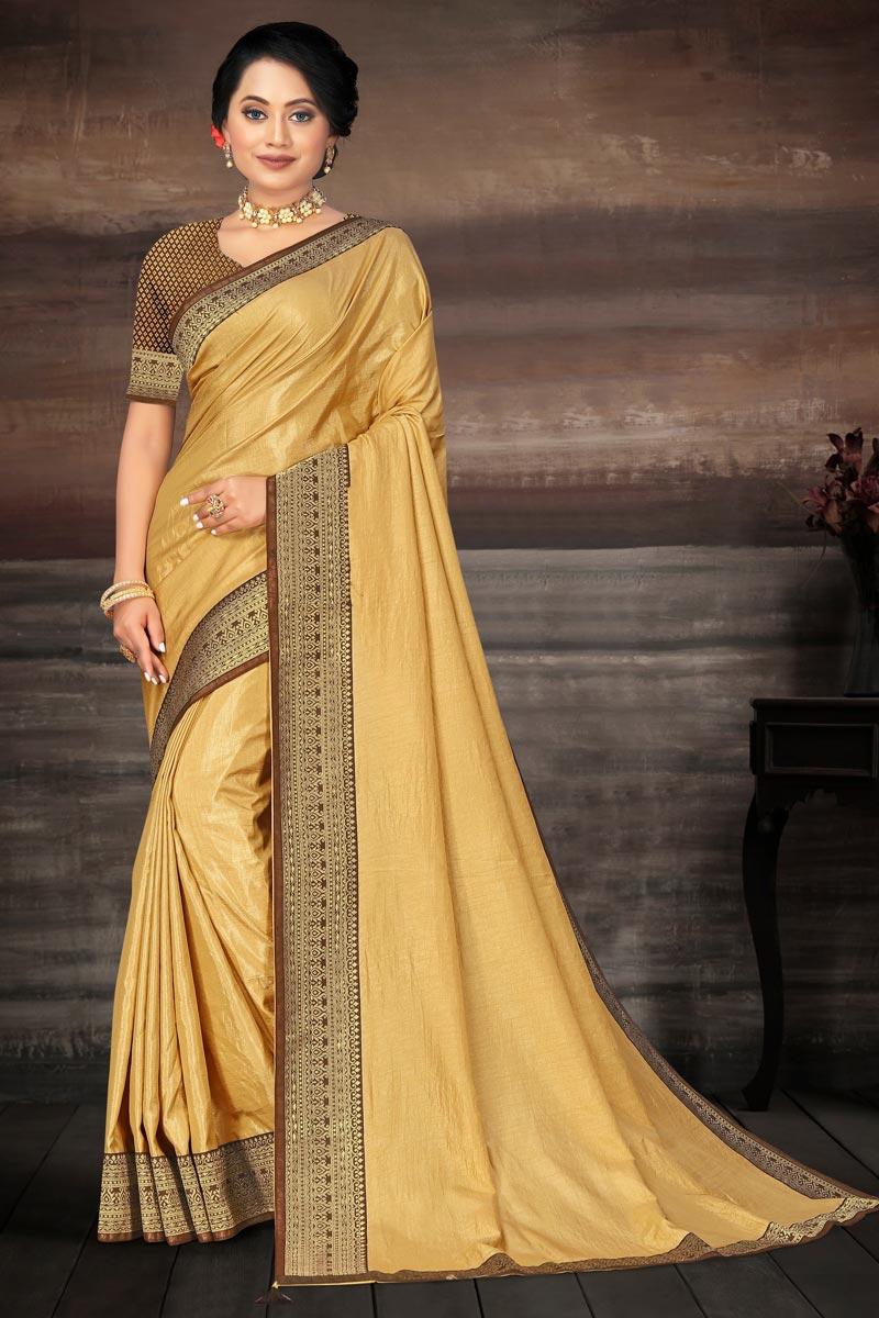 Art Silk Fabric Wedding Wear Fancy Beige Color Lace Work Saree