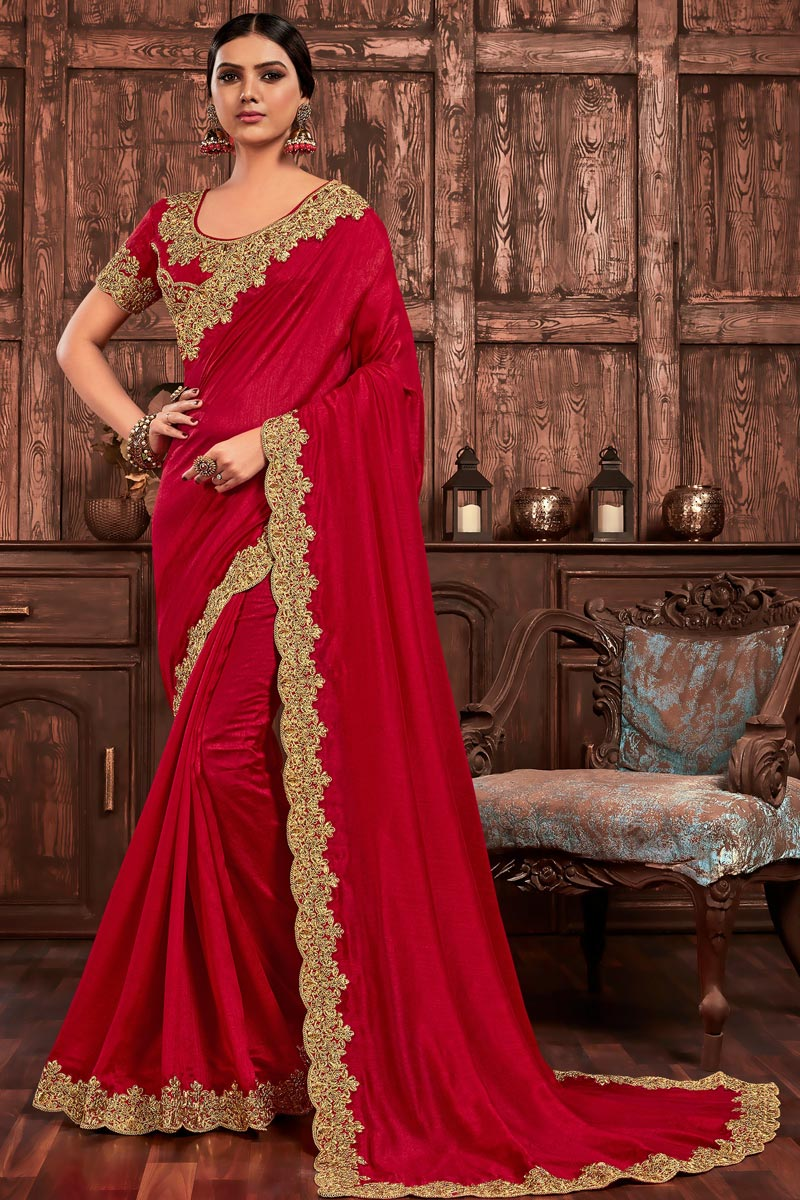 Art Silk Chic Party Wear Red Color Embroidered Border Work Saree