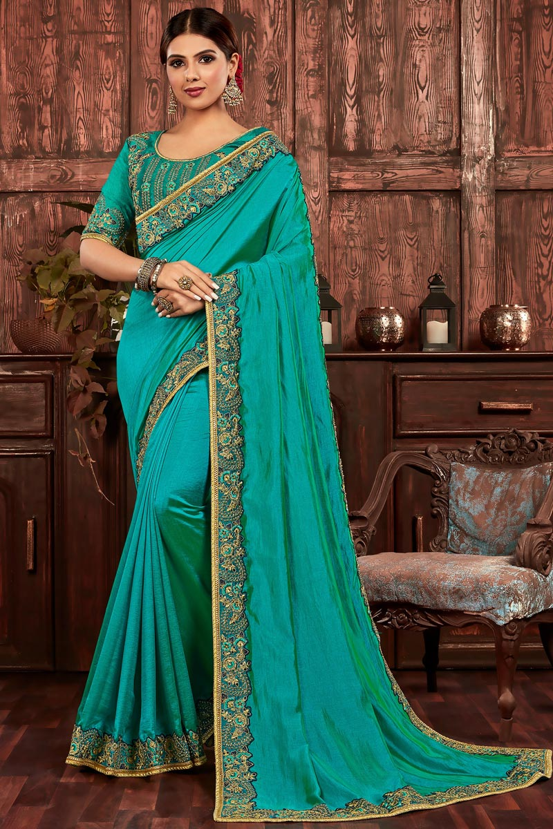 Cyan Color Party Wear Art Silk Chic Embroidered Border Work Saree