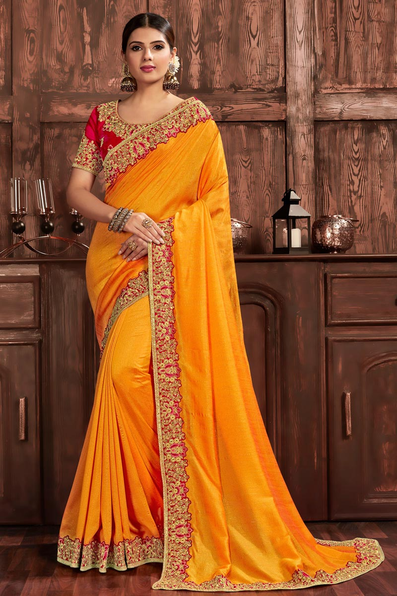 Art Silk Party Wear Chic Embroidered Border Work Saree In Mustard Color