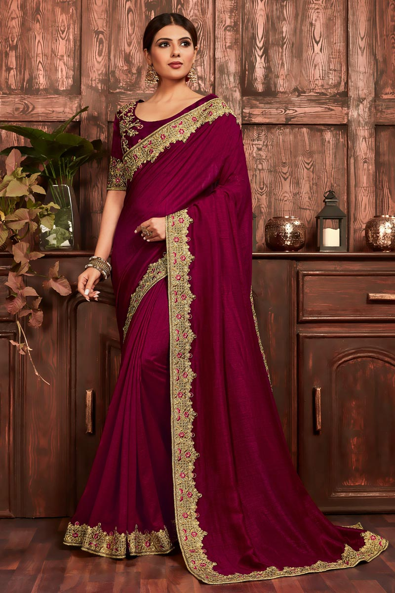 Party Wear Art Silk Chic Embroidered Border Work Saree In Burgundy Color