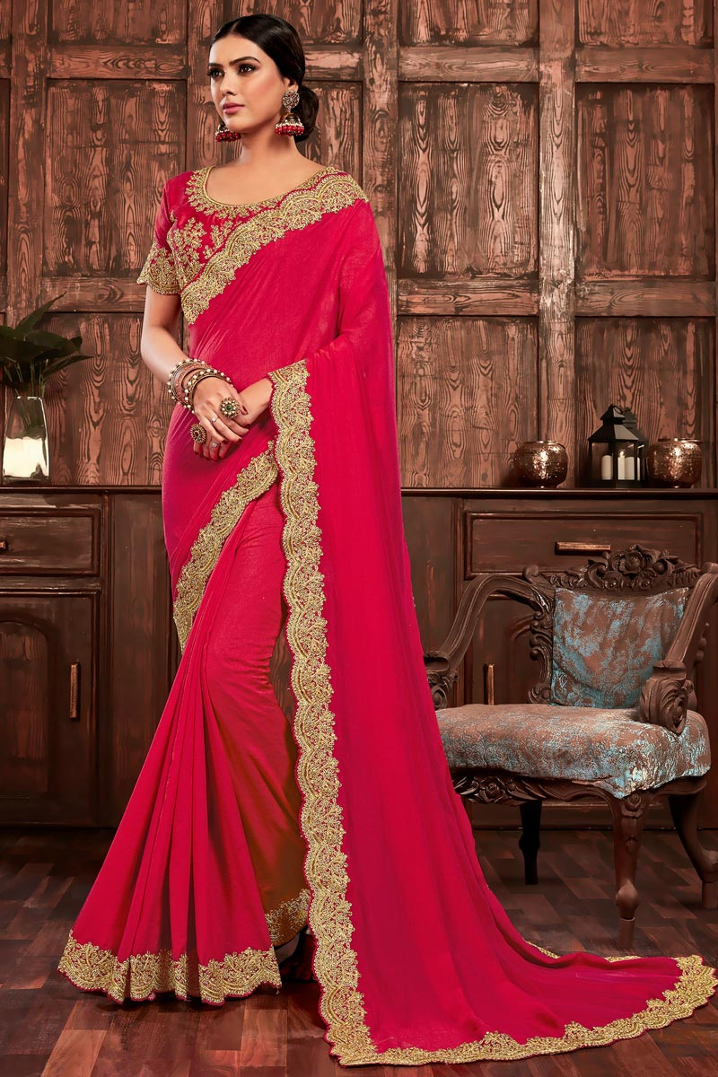Rani Color Party Wear Chic Art Silk Embroidered Border Work Saree