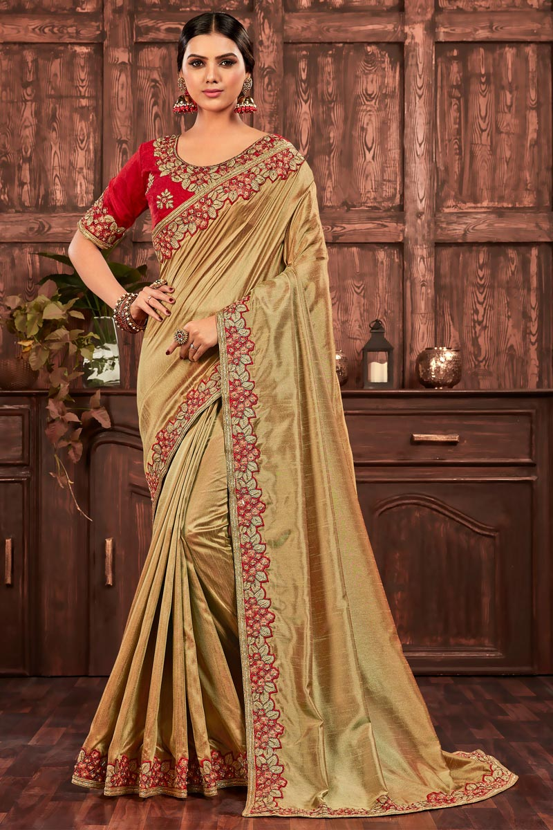 Beige Color Chic Party Wear Art Silk Embroidered Border Work Saree