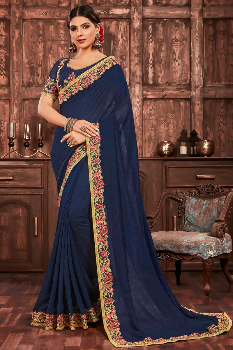 Art Silk Party Wear Navy Blue Color Chic Embroidered Border Work Saree