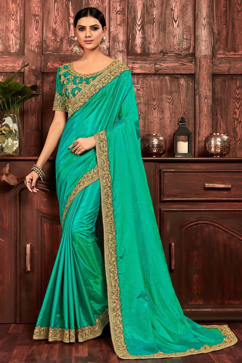 Party Wear Chic Art Silk Embroidered Border Work Saree In Sea Green Color
