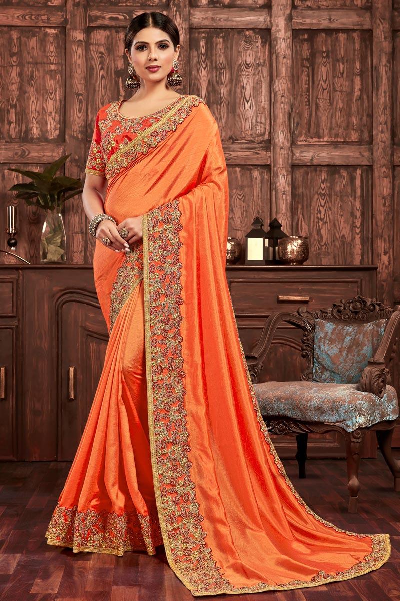 Party Wear Art Silk Chic Orange Color Embroidered Border Work Saree