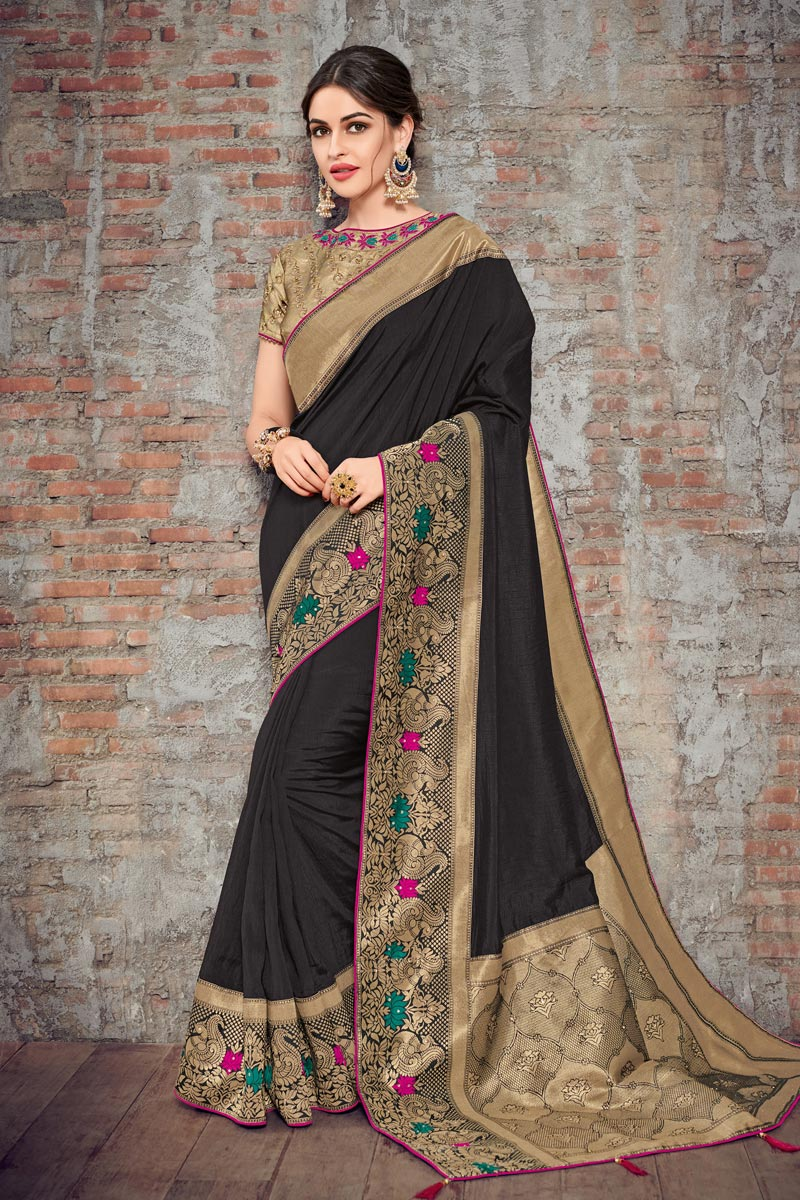 Black Color Art Silk Fabric Wedding Wear Saree With Embroidery Work And Gorgeous Blouse