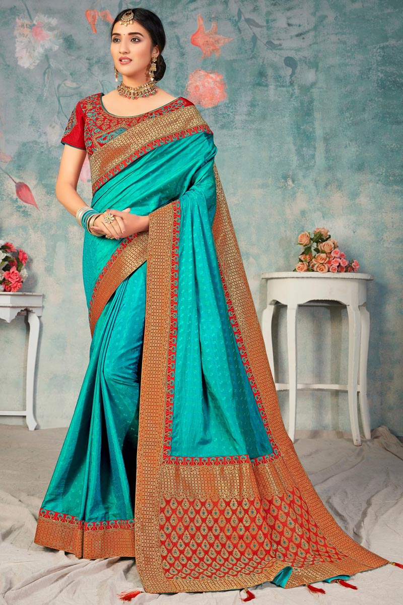 Art Silk Fabric Sangeet Wear Fancy Cyan Color Saree With Embroidered Blouse