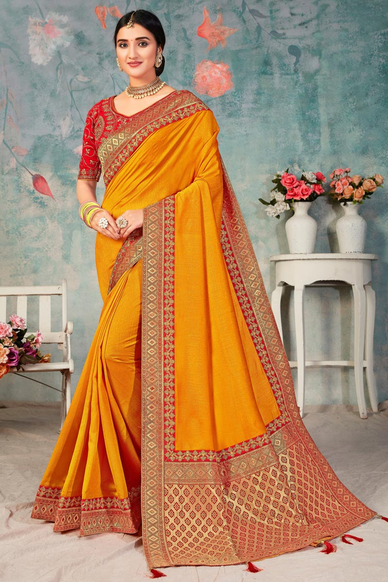 Sangeet Wear Mustard Color Fancy Art Silk Fabric Saree With Embroidered Blouse