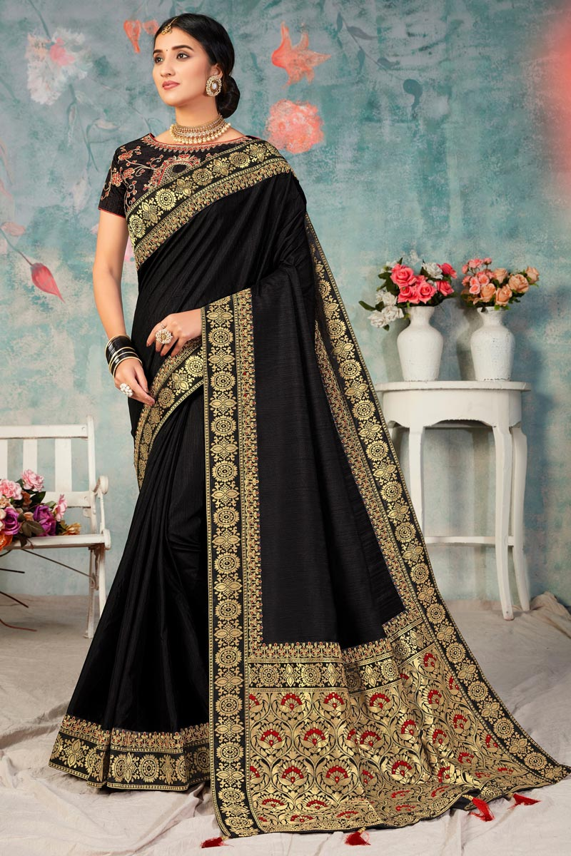 Sangeet Wear Art Silk Fabric Fancy Saree With Embroidered Blouse In Black Color
