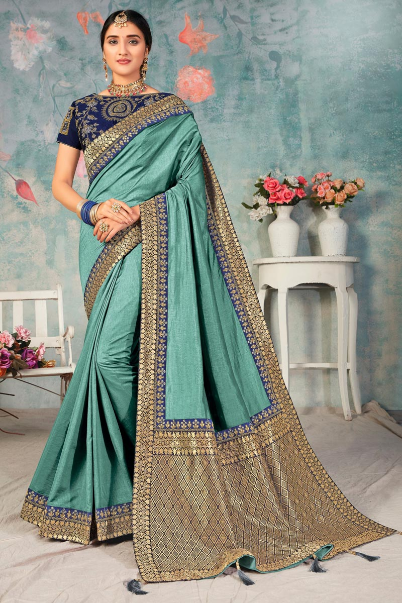 Sea Green Color Sangeet Wear Fancy Art Silk Fabric Saree With Embroidered Blouse