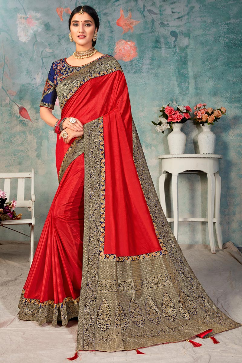 Red Color Fancy Sangeet Wear Art Silk Fabric Saree With Embroidered Blouse