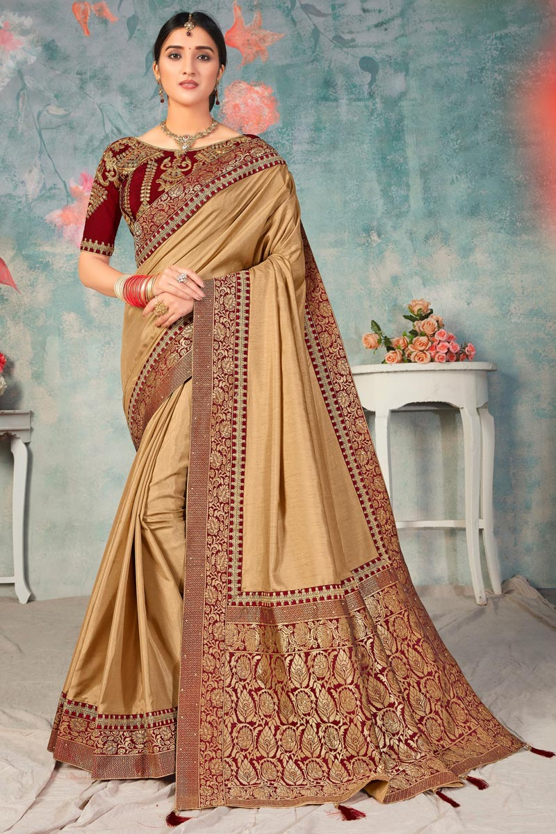 Chikoo Color Art Silk Fabric Sangeet Wear Fancy Saree With Embroidered Blouse
