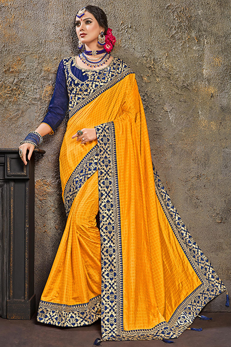 Mustard Color Party Wear Saree In Art Silk Fabric With Embroidery Work And Designer Blouse