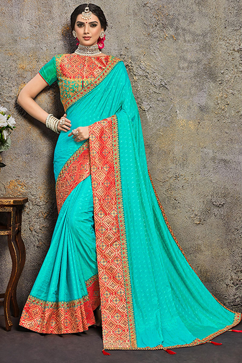 Sangeet Wear Art Silk Fabric Saree In Cyan Color With Embroidery Work And Alluring Blouse