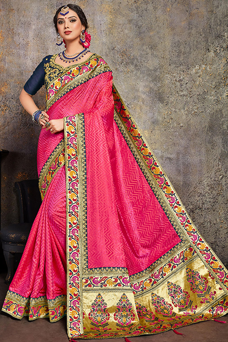 Embroidery Work On Art Silk Fabric Rani Color Designer Saree With Party Wear Blouse