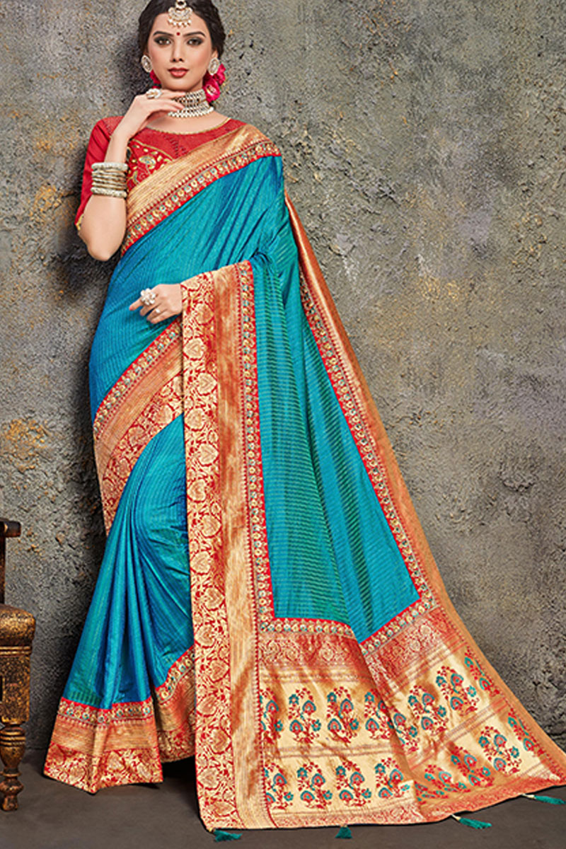 Art Silk Fabric Embroidery Work On Sky Blue Color Reception Wear Saree With Charming Blouse