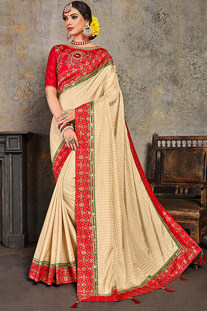 Designer Embroidery Work On Beige Color Art Silk Fabric Fancy Saree