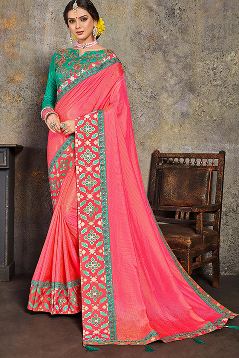 Pink Color Art Silk Fabric Function Wear Saree With Embroidery Designs And Gorgeous Blouse