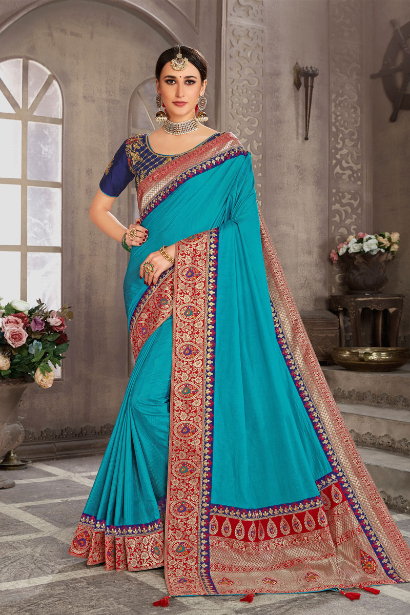 Occasion Wear Art Silk Weaving Work Saree In Sky Blue Color With Designer Blouse