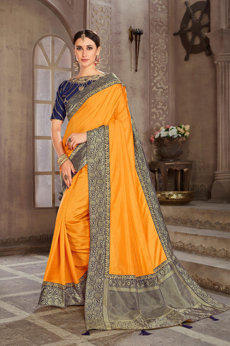 Weaving Work On Art Silk Mustard Color Function Wear Saree With Marvelous Blouse