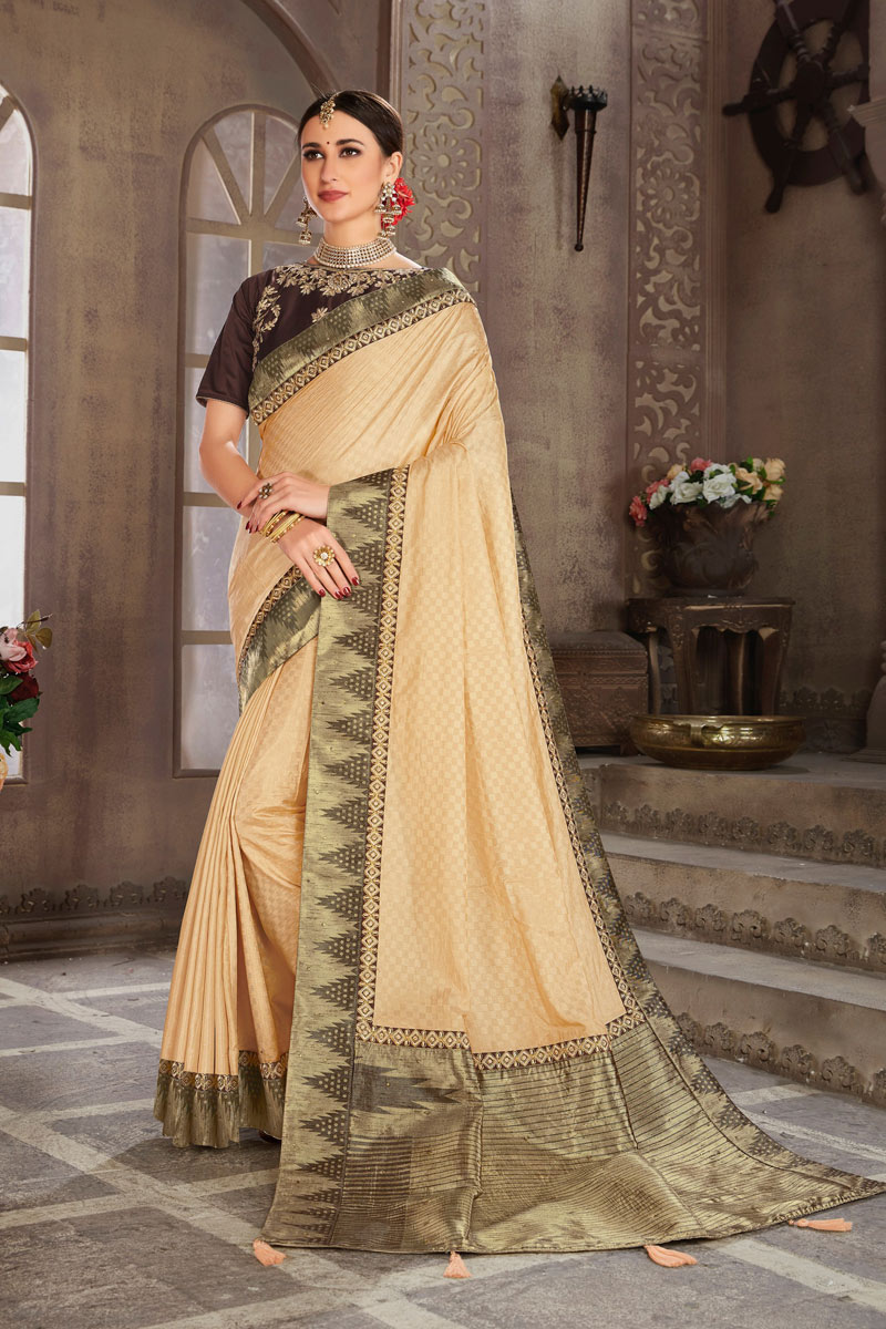 Beige Color Art Silk Wedding Wear Saree With Weaving Work And Gorgeous Blouse