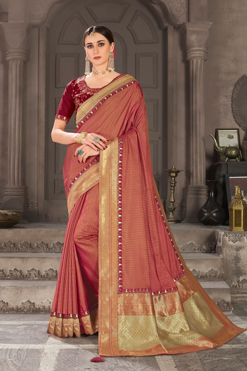 Art Silk Weaving Work Designs On Maroon Color Reception Wear Saree With Attractive Blouse