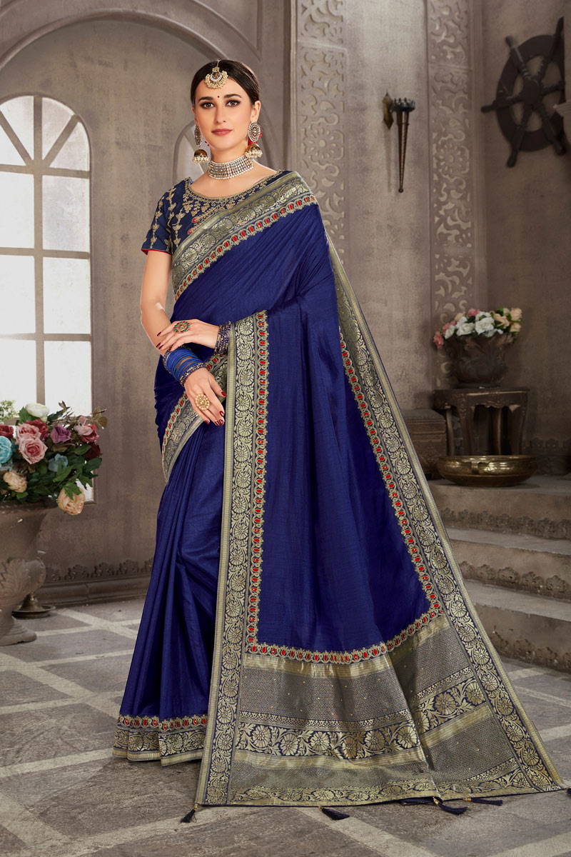 Weaving Work On Blue Color Art Silk Party Wear Saree With Amazing Blouse