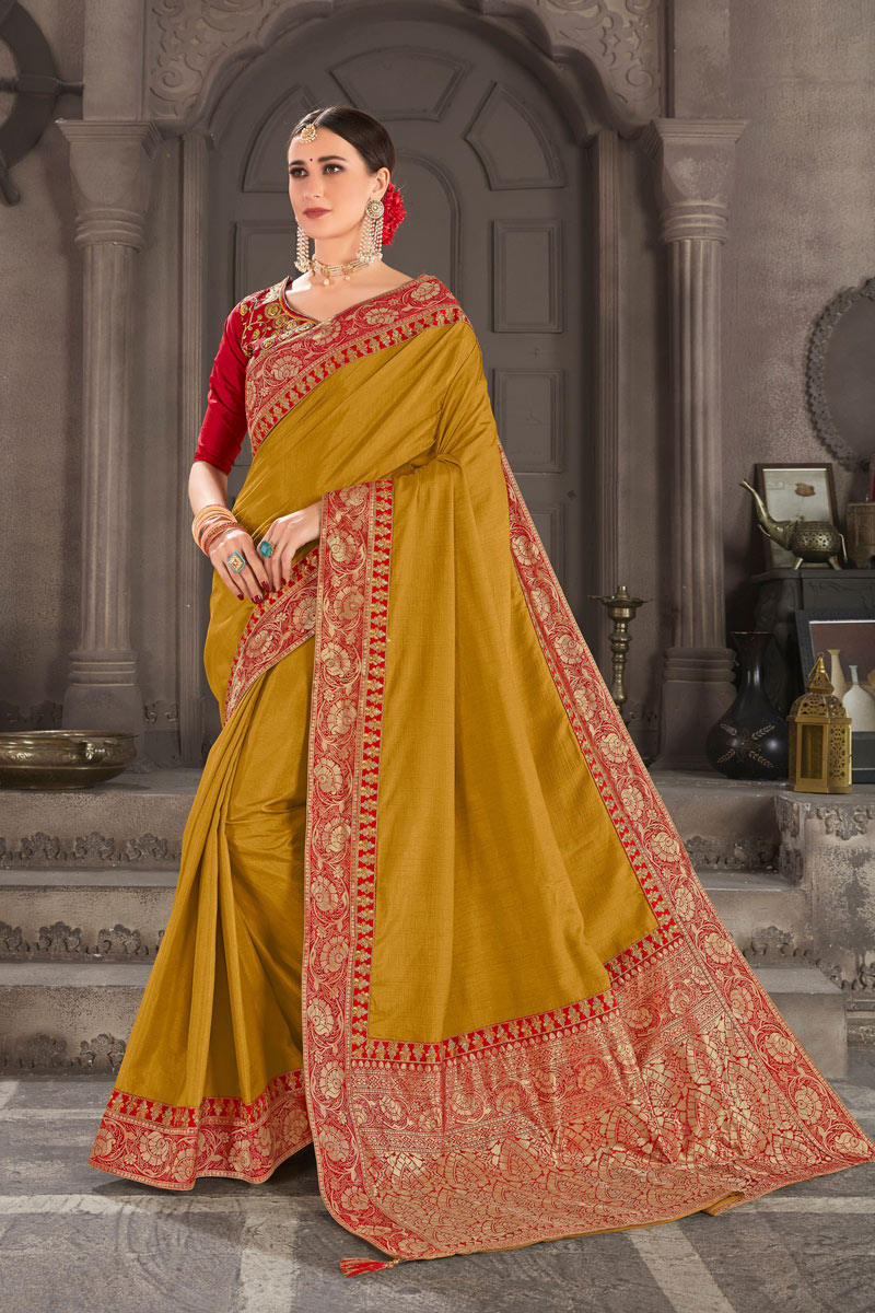 Mustard Color Art Silk Function Wear Saree With Weaving Work And Astounding Blouse