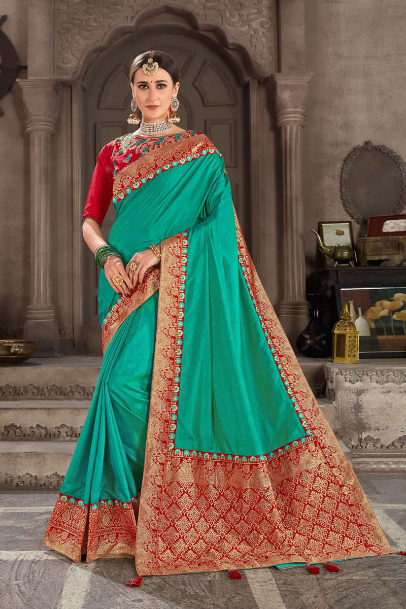 Art Silk Cyan Color Festive Saree With Weaving Work And Gorgeous Blouse