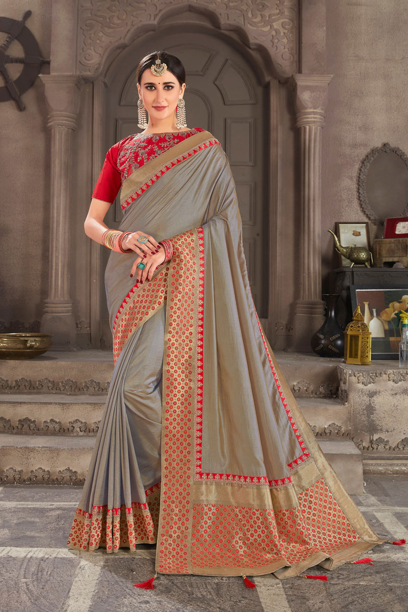 Weaving Work On Occasion Wear Saree In Dark Beige Color With Designer Blouse