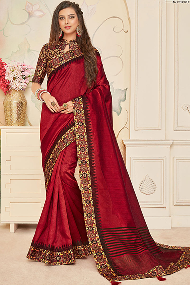 Occasion Wear Art Silk Fabric Border Work Saree In Maroon Color With And Designer Blouse