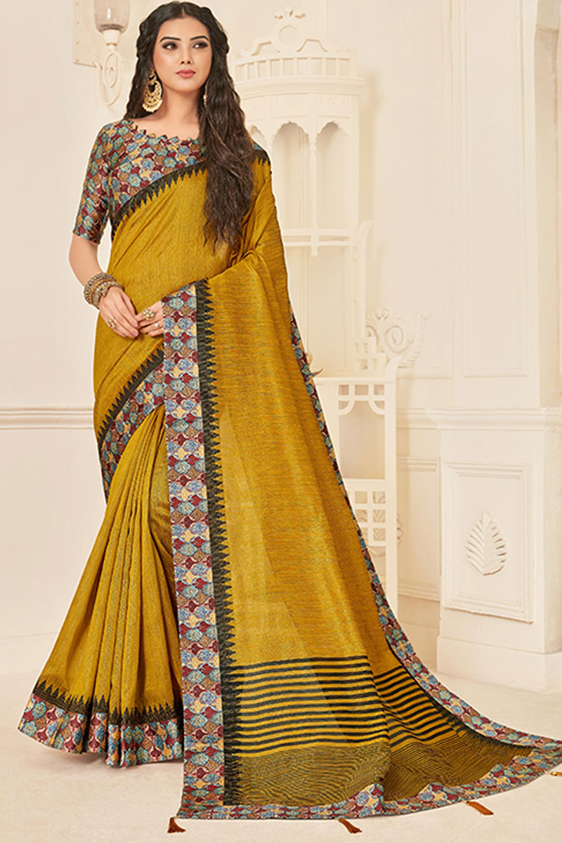 Border Work Art Silk Fabric Golden Color Function Wear Saree With Marvelous Blouse