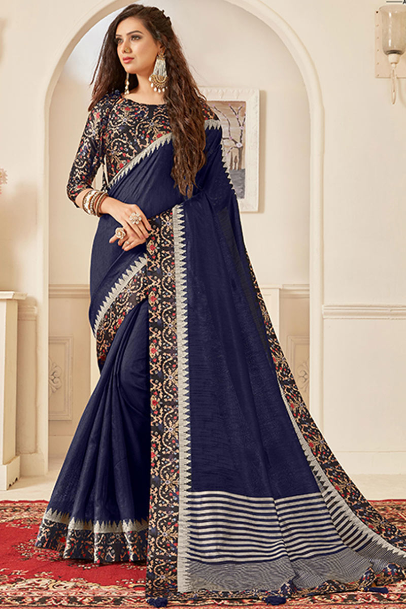 Navy Blue Color Art Silk Fabric Designer Saree With Border Work And Gorgeous Blouse