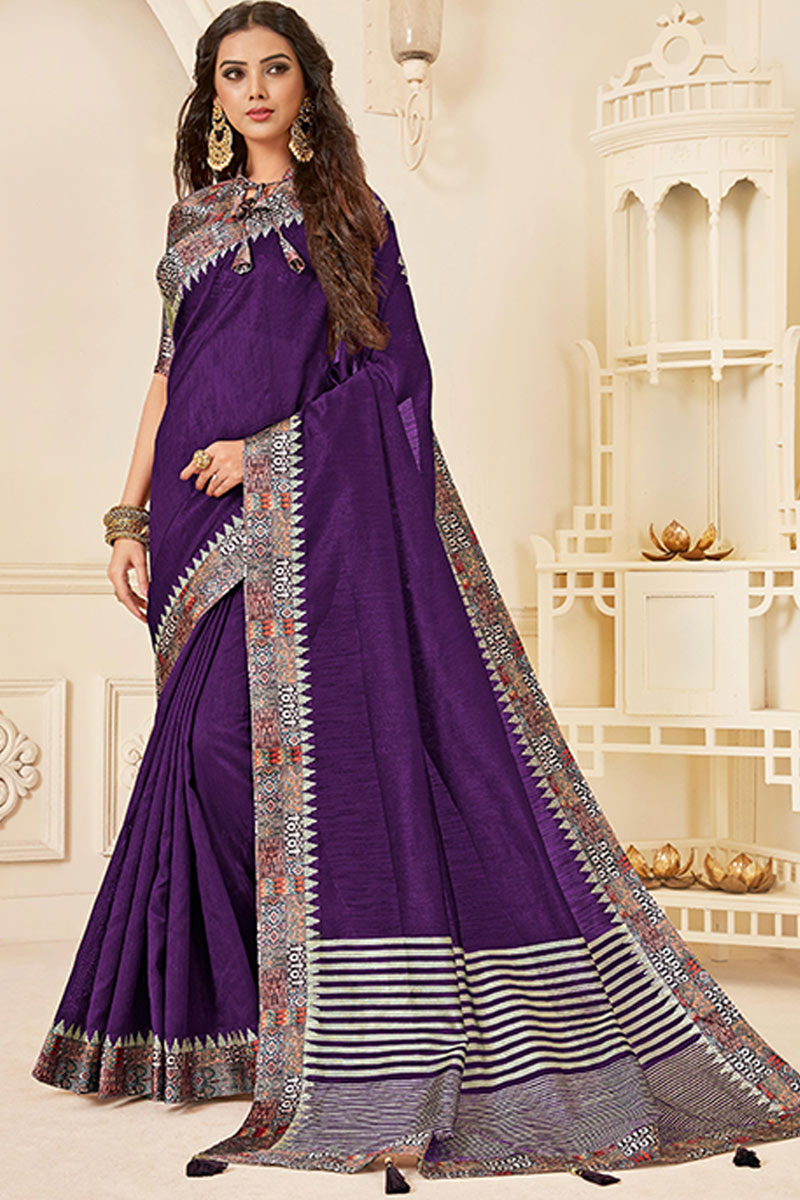 Art Silk Fabric Border Work Dark Purple Color Party Wear Saree With Attractive Blouse