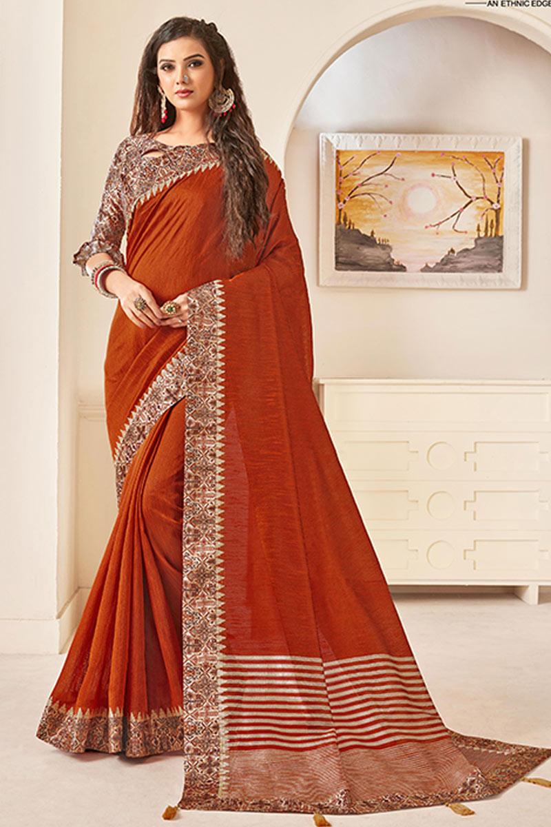 Border Work On Art Silk Fabric Rust Color Festive Wear Saree With Designer Blouse