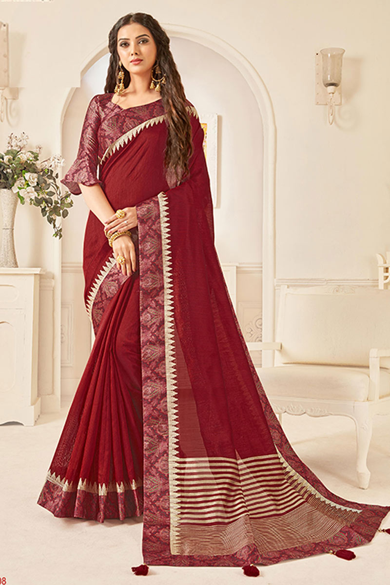 Border Work On Art Silk Fabric Designer Saree In Maroon Color With Attractive Blouse